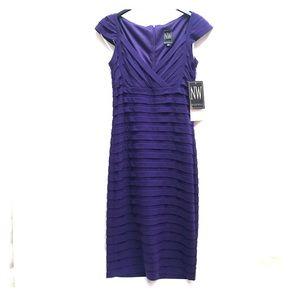 Nightway sleeveless purple midi cocktail dress